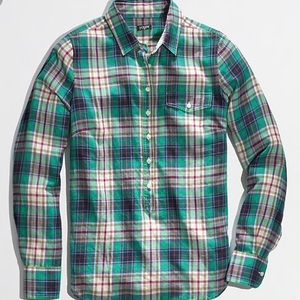 J. Crew Plaid Popover Shirt Top Green Size XS